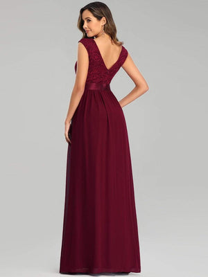 Elegant  A-Line Floor Length Sleeveless Waistband Embroidery Lace Bridesmaid Dresses
