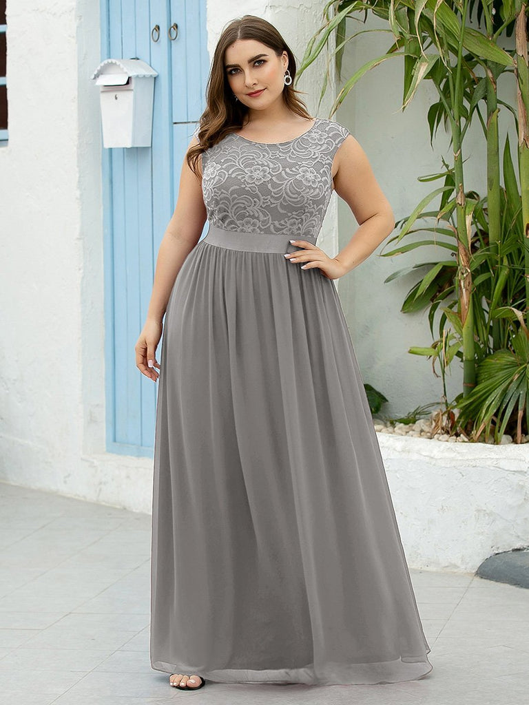 Elegant A-Line Floor Length Sleeveless Waistband Embroidery Lace Bridesmaid  Plus Size Dresses