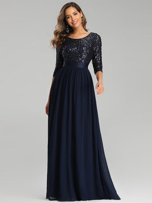 Elegant A-Line Floor Length Round Neckline 3/4 Sleeve Sequins Sparkling Paillette Evening Dress