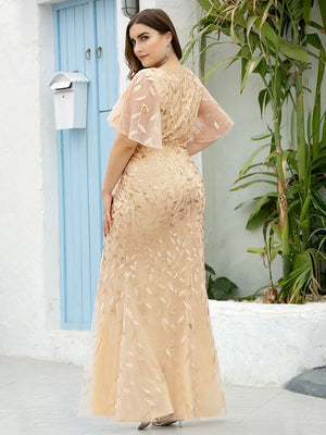 Gorgeous Gold V Neck Leaf-Sequined Short Sleeves Fishtail Sequin & Tulle Plus Size Evening Dress
