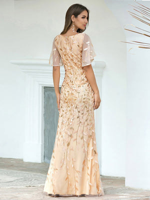 Gorgeous Gold V Neck Leaf-Sequined   Short Sleeves Fishtail Sequin & Tulle Evening Dress