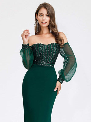 Sexy Off Shoulder Sequin Sheer Lace Sleeves Slim-line  Full-length Evening Dresses