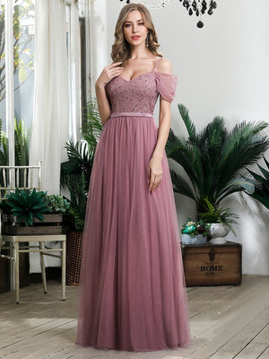 A-Line Floor Length Ruffle Sleeve Tulle Sequins Lace  Bridesmaid Dress