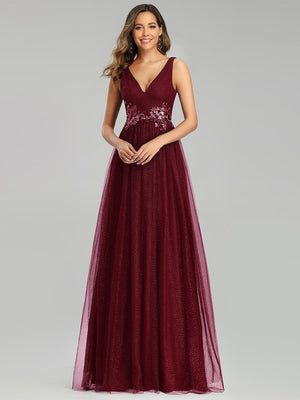 Elegant Deep Double V Neck Tulle Sleeveless Lace A-line Long Evening Dress with Appliques