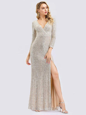 Glamorous Shiny V Neck Sequin  Full-length Evening Party Dress with Long Sleeve