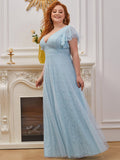 Plus Size Sexy Double V-Neck Floor Length Lace Wedding Dresses with Ruffle Sleeves