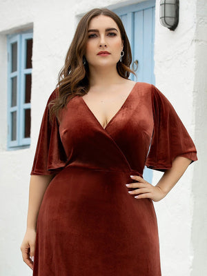 Elegant Double V Neck Velvet Ruffles Sleeves A-Line Floor Length Plus Size Evening Dresses