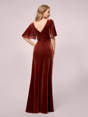 Elegant Double V Neck Velvet Ruffles Sleeves A-Line Floor Length Evening Maternity Dresses