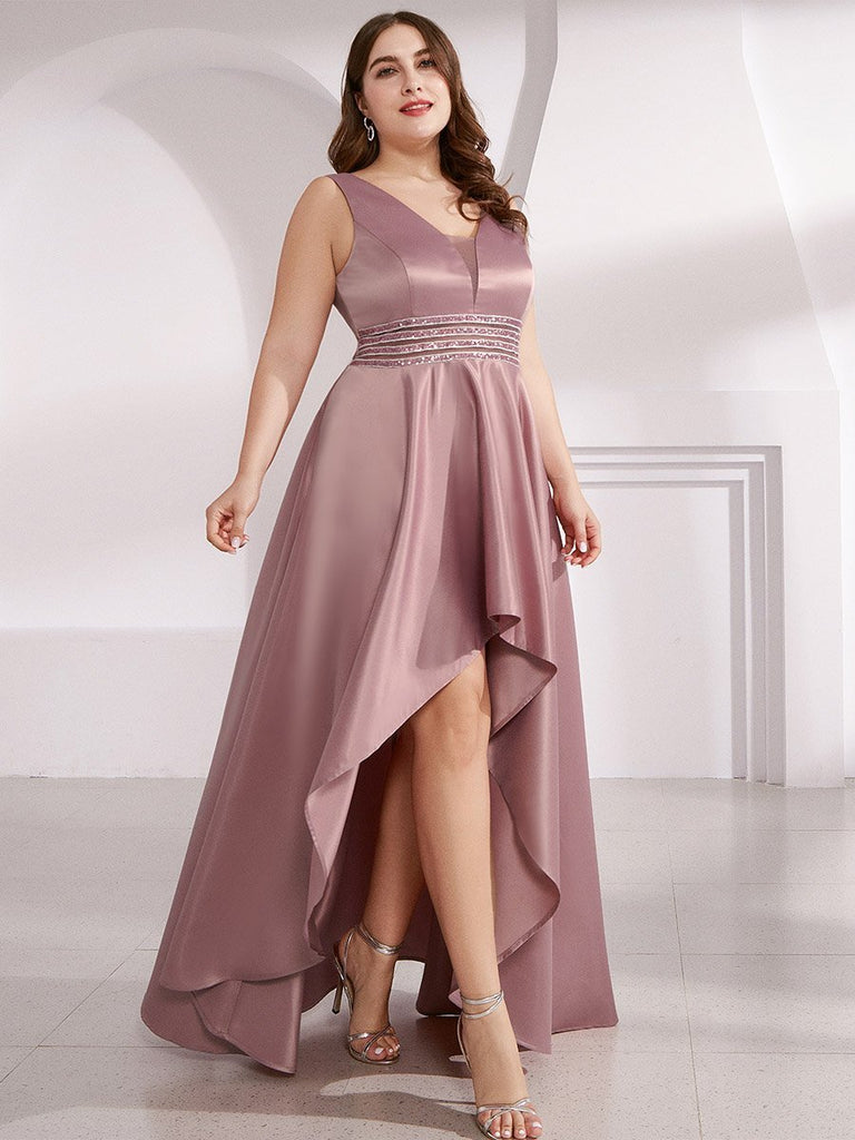V-Neck Asymmetric High Low Cocktail Sleeveless Party Plus Size Dresses with Sequin Belt
