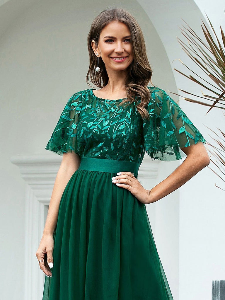 Luxury A-Line Floor Length Full-length  Chiffon Lace Embroidery Waistband Sequin Evening Dress