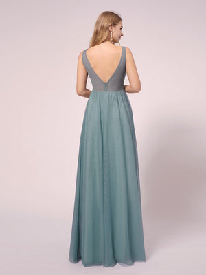 A-Line Sexy Deep Double V-Neck Floral Lace Appliques Sleeveless with ribbon belt Bridesmaid Maternity Dress