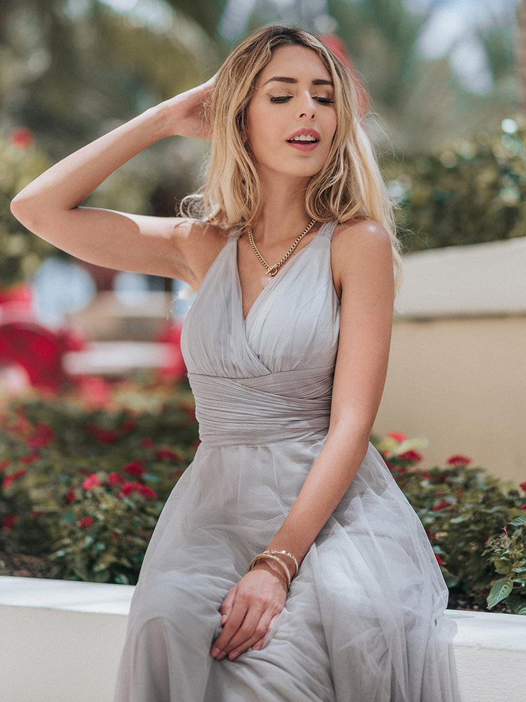 Sexy V-Neck Spaghetti Strap Floor Length Tulle Sash Bridesmaid Dress