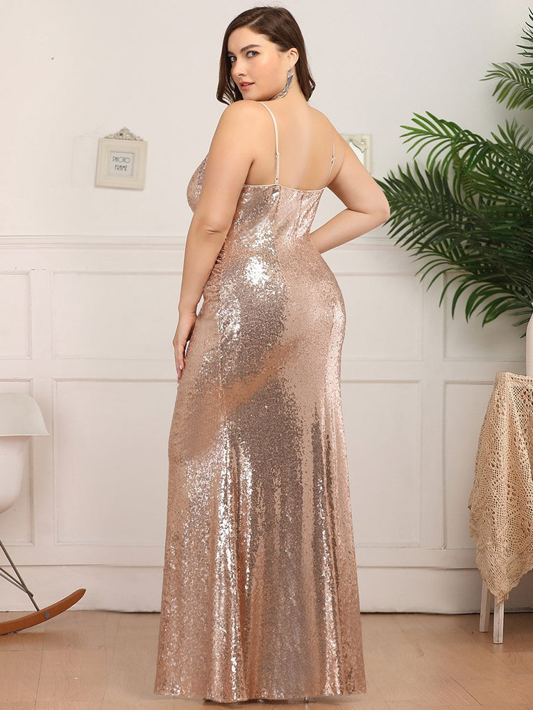 Sexy Spaghetti Straps Fishtail Mermaid Sequin  Floor Length  Plus Size Evening Dresses
