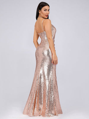 Sexy Spaghetti Straps Fishtail Mermaid Sequin  Floor Length Evening Dresses