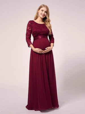 Elegant Applique Long Lace Sleeve Lace A-Line Floor Length Waistband Bridesmaid  Maternity Dress