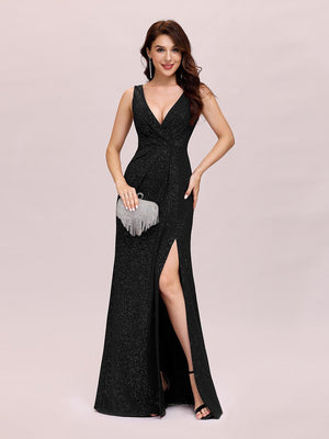 V Neck Shimmery Slim-line Floor Length Sleeveless  Evening Dresses With Side Split