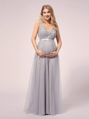 Sexy Sleeveless V-Neck Applique Tulle Sash A-Line Floor Length Evening Maternity Dress