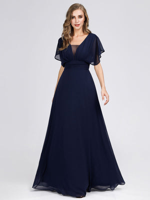 A-Line Double V-neck Empire Waist Chiffon Ruffle Sleeves Full-length Evening Party Dress
