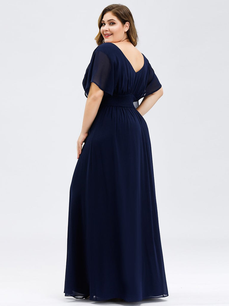 A-Line Double V-neck Empire Waist Chiffon Ruffle Sleeves Plus Size Full-length Evening Party Dress