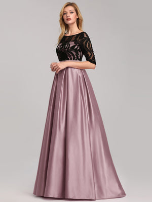 Glamorous Round Neck Matte Satin Black Lace Half Sleeve Waistband Prom Dresses