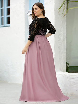 Glamorous Round Neck Matte Satin Black Lace Half Sleeve Waistband Plus Size Prom Dresses