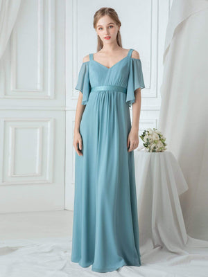 Cold Shoulder Chiffon Sash Full-length Bridesmaid Dresses with Ruffle Sleeves