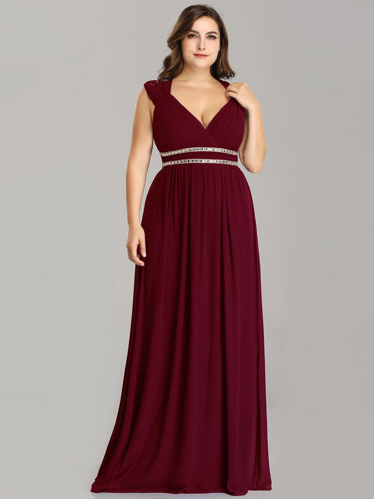 Sexy Deep V-Neck Empire Waist Chiffon Sleeveless  Waistband  A-Line Floor Length Evening Plus SizeDresses
