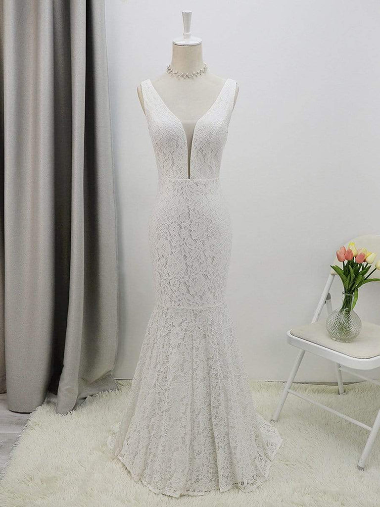 Sexy V-neck Fitted Lace Mermaid Long Fishtail Sleeveless Lace Bridesmaid Dress