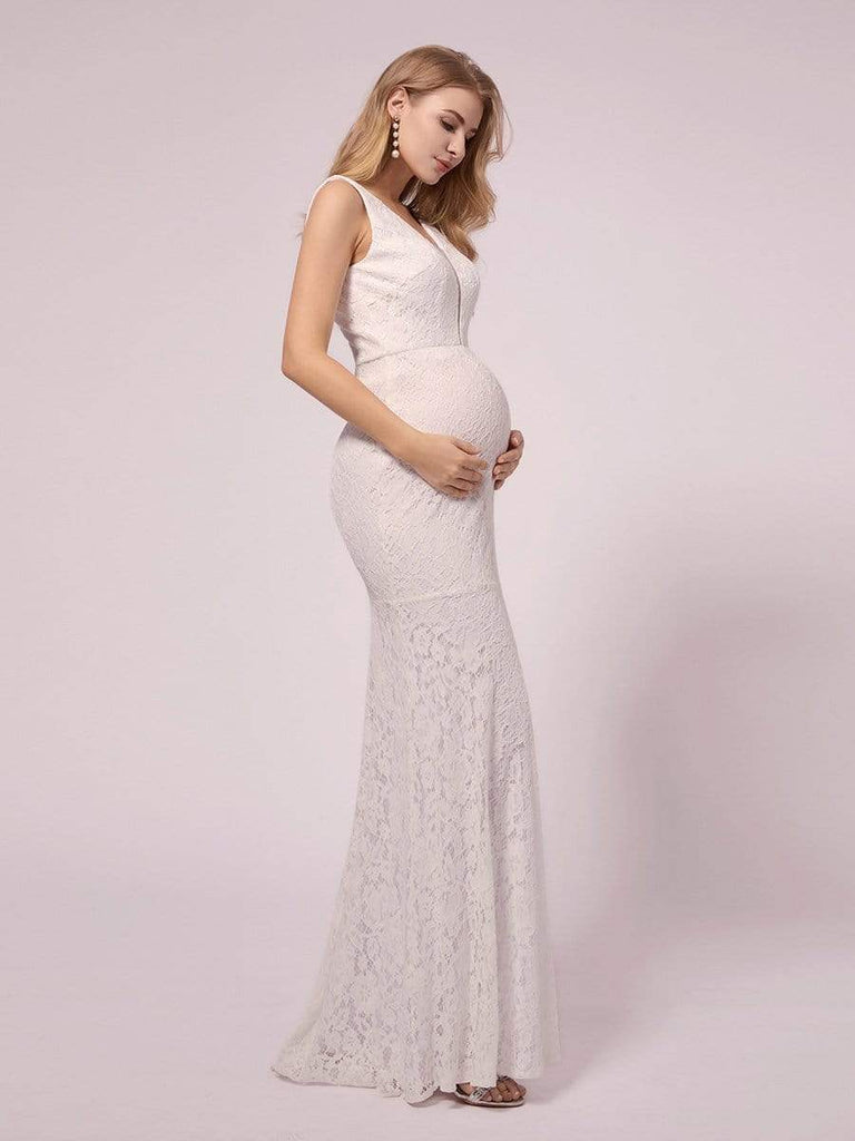 Maternity Sexy V-neck Fitted Lace Mermaid Long Fishtail Sleeveless Lace Plus Size Bridesmaid Dress