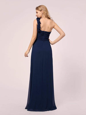 Elegant One Shoulder Sleeveless Chiffon Tulle Full-length Bridesmaid  Maternity Dresses