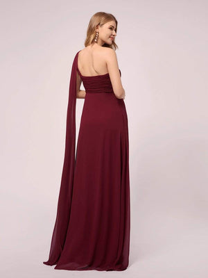 Classic One Shoulder Chiffon Ruffles  Lace Up Long Evening Maternity Dresses for Women