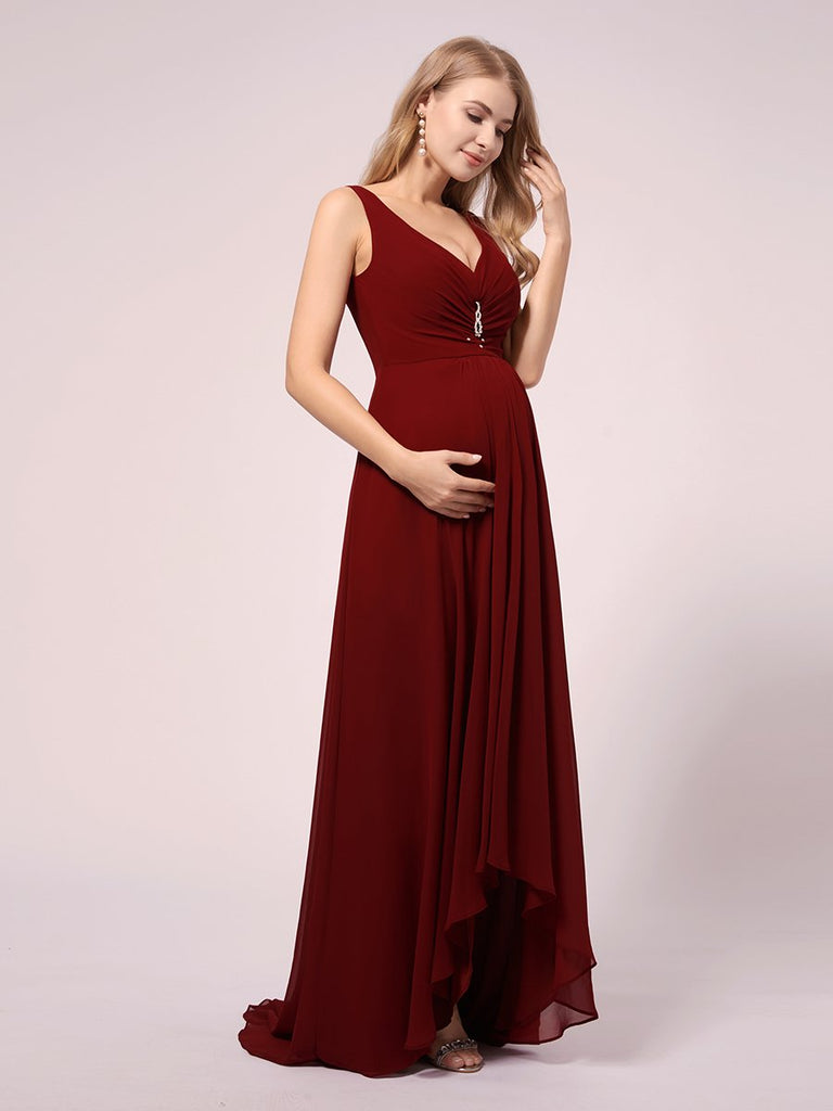 V-Neck Strap Sleeveless High-Low Chiffon Tulle Train  Full-length Plus Size Evening Maternity Dresses