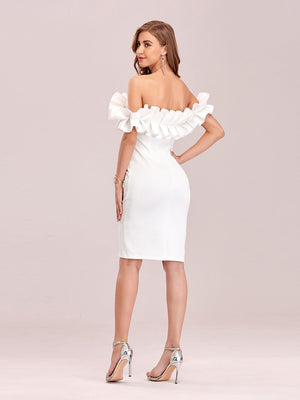 Sexy Off Shoulder Bodycon Above Knee Stringy Selvedge Party Cocktail Dress