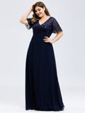 Plus Size Double V Neck Shimmery Full-length Sheer Ruffle Sleeves Evening Dresses with Side Split