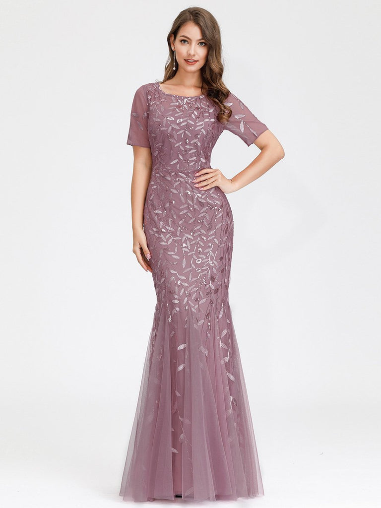 Gorgeous Slim-line Mermaid Short Sleeves Full-length Tulle Sequin Print Fishtail Evening Dress