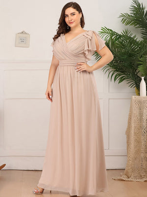 Elegant V neckline Floor Length Chiffon  Plus Size Evening Dress With Ruffles Sleeves