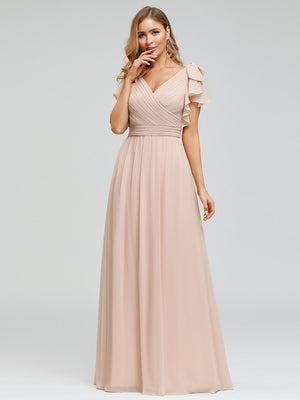Elegant V neckline Floor Length chiffon Evening Dress With Ruffles Sleeves