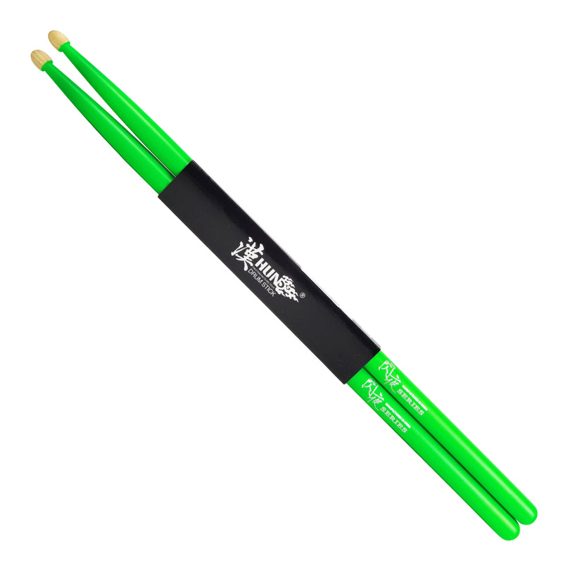 Fluorescent Drumsticks - American Hickory 5A (Green)