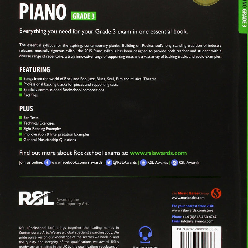 Rockschool Piano - Grade 3 (2015+)