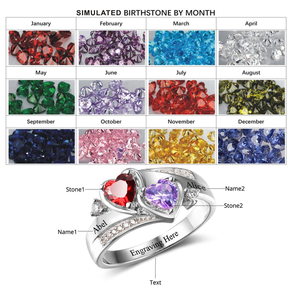 a50cd0db959f4 Sterling silver 2 Birthstone Couple Promise Heart Ring