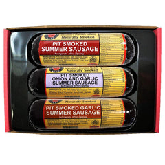 Wisconsin's Best Real Wisconsin Pit Smoked Summer Sausage Sampler Gift Basket: Original, Garlic, and Onion & Garlic | Snack or Gift for Family & Friends