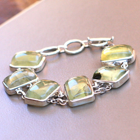 Prehnite and Sterling Silver Rectangle Bracelet - SilverBellas