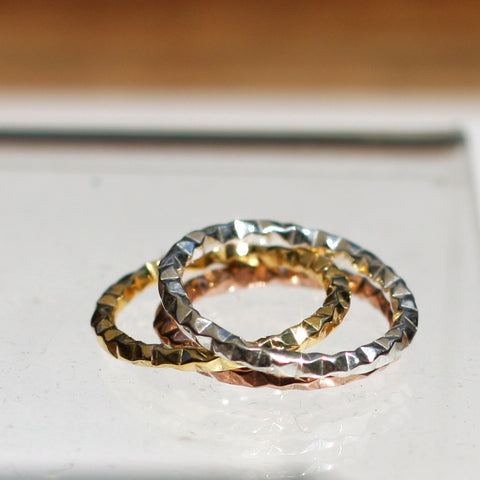 Hammered Stacking Rings 3 - SilverBellas