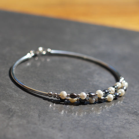 Freshwater Pearl and Sterling Silver Bracelet - SilverBellas