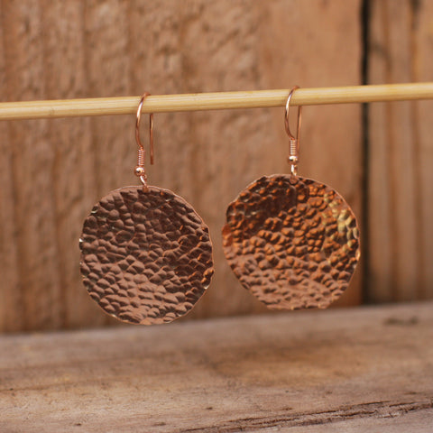 Hammered Rose Gold Round Drop Earrings - SilverBellas