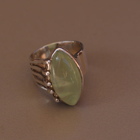 Prehnite and Sterling Silver Long Elipse Ring - SilverBellas