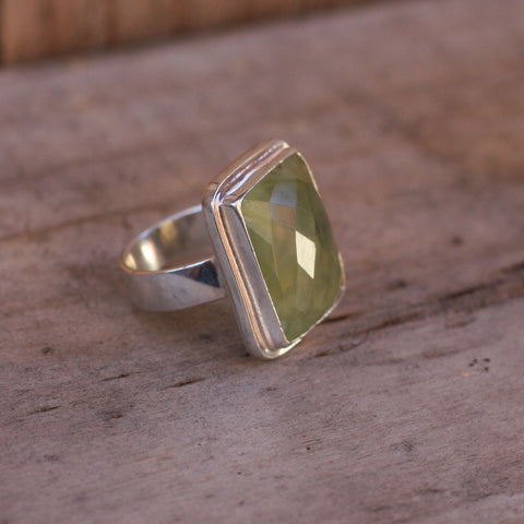 Prehnite and Sterling Silver Rectangle Ring - SilverBellas