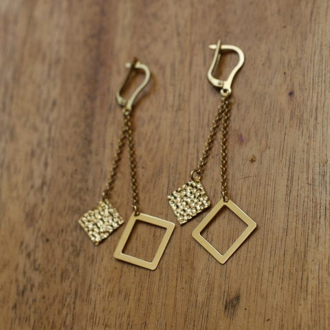 Gold Squares Earrings - SilverBellas