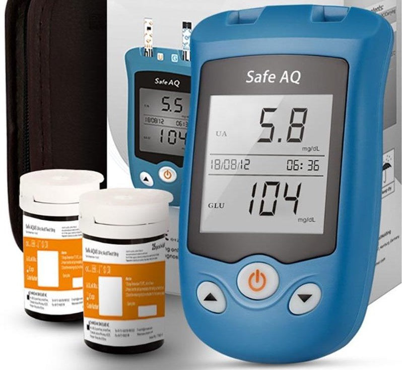 Blood  Uric Acid  Glucose Meter and Glucose / Uric Strips for Diabetes Gout Glucometer - MEDICAL EQUIPMENT
