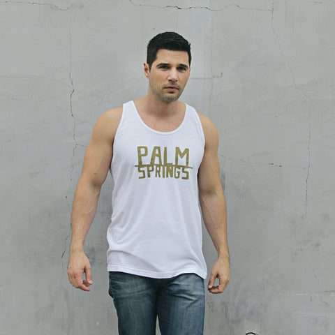 PALM SPRINGS - White and Gold Sleeveless tank top for Men and Women